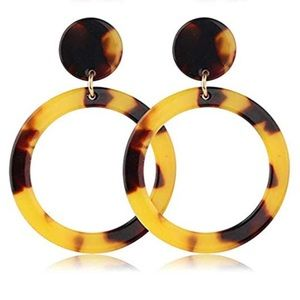 Dark Tortoise Acrylic Circle Dangle Earrings